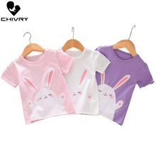 Chivry Summer 2019 New Little Girls Fashion Cartoon Rabbit Print Baby Casual Short Sleeve O-Neck T-shirt Children Clothing