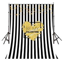 5x7ft Romantic Confession Backdrop Black and White Vertical Stripes Photography Background Studio Props