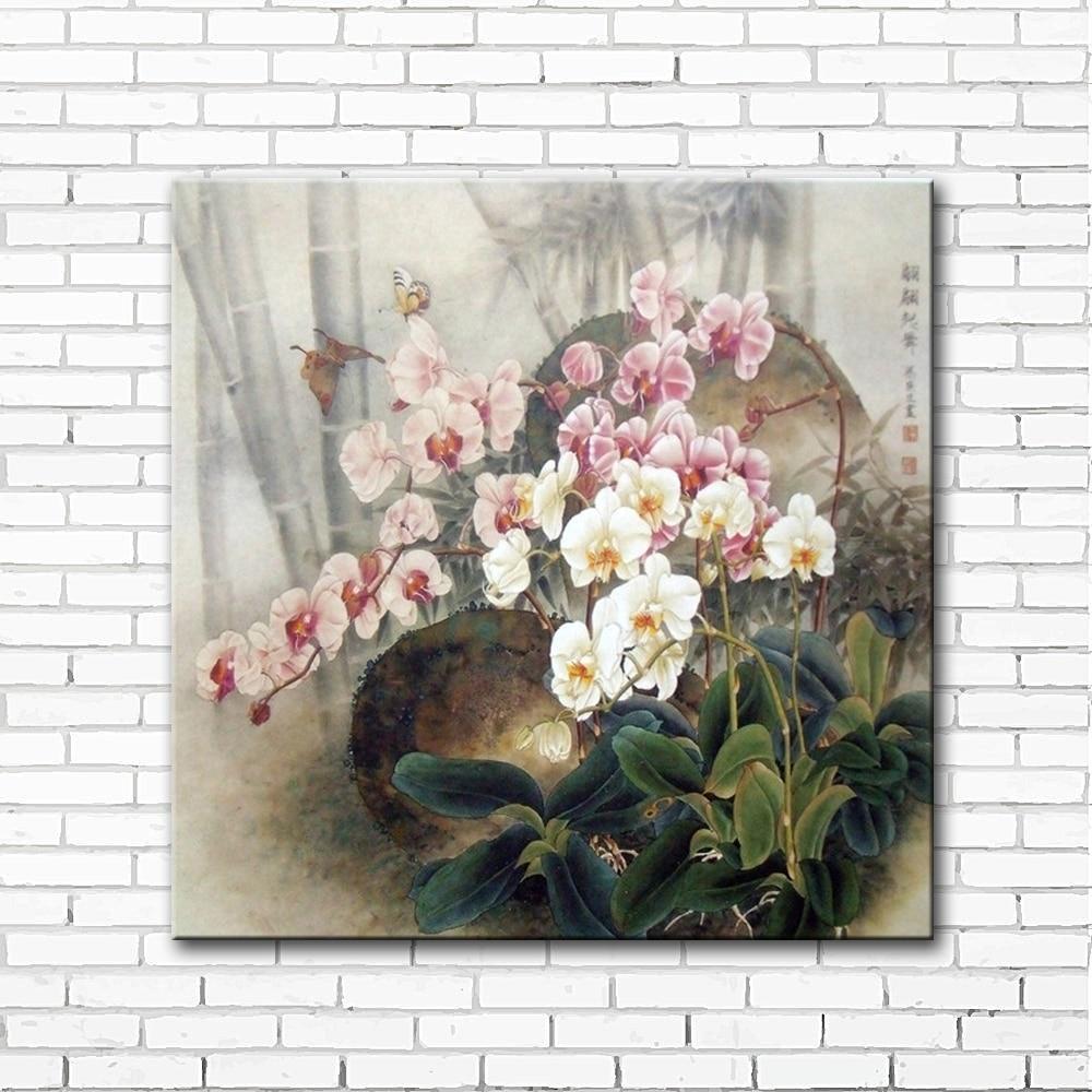 Gaya Cina Bunga Anggrek Kupu Pemandangan Kanvas Cetakan The Troopers Black Matte Backpack Ransel Bagus Ravre Oil Painting Dicetak Pada Wall Art Dekorasi Rumah Gambar