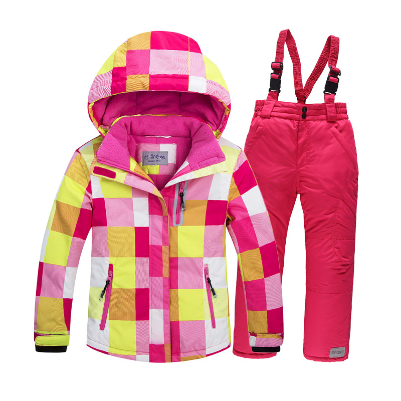 Russian Winter Children Clothing Sets Outdoor Windproof Waterproof Boys Girls Floral Ski Jacket+Bib Pants 2pcs Set Kids Ski Suit russian winter children ski suit windproof outdoor girls ski jackets bib pants 2pcs girls clothing set for 2 7 years