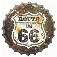 35 см Route 66 металлические крышки для бутылок декоративные таблички жестяные знаки кафе пиво настенные Декорации для бара доска Винтаж Домашн...