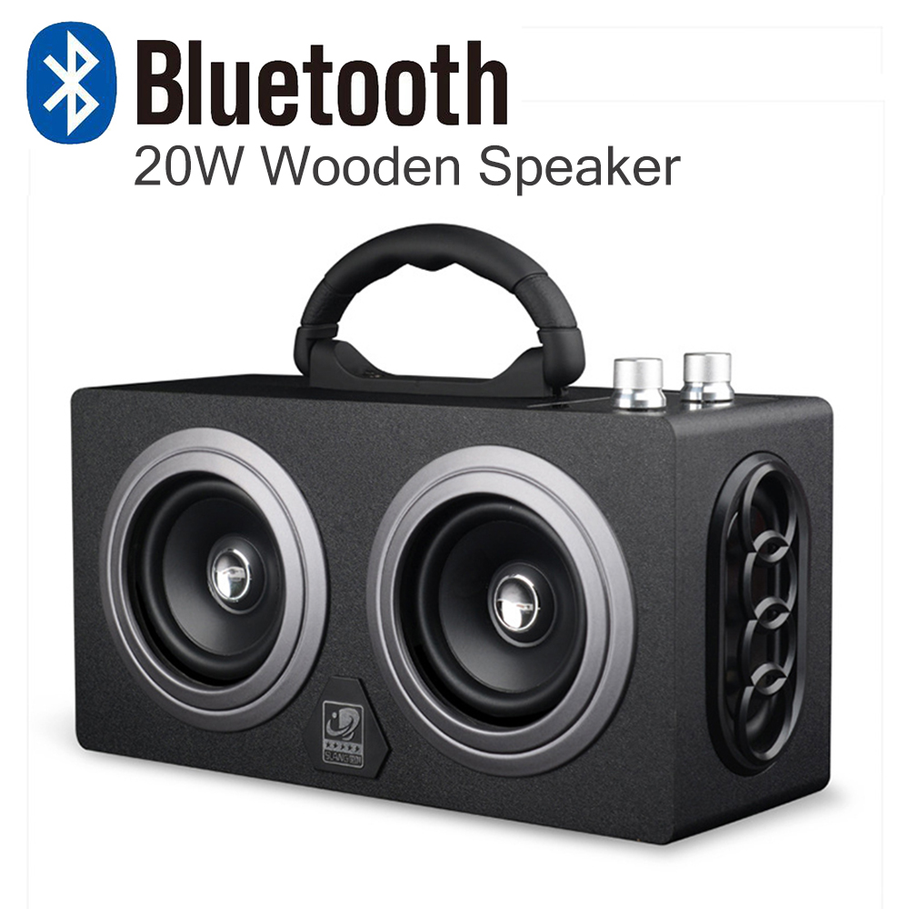 все цены на 20W Wooden High Power Outdoor Bluetooth Speaker Wireless Stereo Super Bass Subwoofer Dancing Loudspeaker with fm radio sound car онлайн