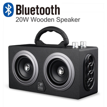 20W Wooden High Power Outdoor Bluetooth Speaker Wireless Stereo Super Bass Subwoofer Dancing Loudspeaker with fm radio sound car