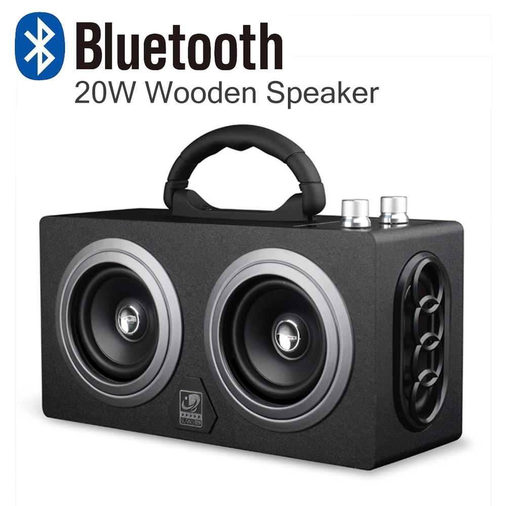 Haut-parleur extérieur sans fil de Bluetooth de puissance élevée en bois de 20 W haut-parleur stéréo superbe de danse de caisson de basses avec la voiture saine de radio de fm