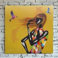 Ручной Wall Art Home Decor Каллиграфии Акриловая Рука Краска Красочные Птичка и Модель Девушка Масляной Живописи на Холсте