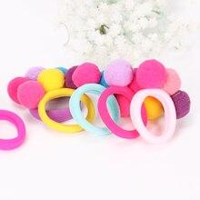6PCS New Cute 3 Balls Elastics Hair Holders Bands Gum Fashion Kids Candy Rubber Bands Headwear Girl Hair Accessories