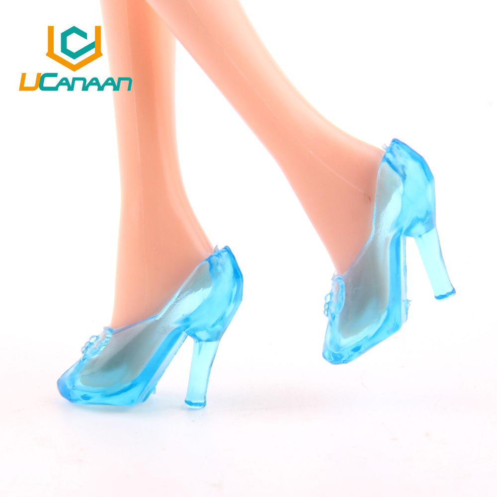 UCanaan Toys 20 Pairs (10 Blue + 10 Clear) Crystal Sneakers for 11″ Barbi Cinderella Doll Equipment 2 Colours Free Delivery
