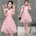 2017 new  oriental silk satin dress chinese traditional printed mandarin collar retro qipao