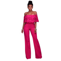 New style 2017 solid color romper jumpsuit sexy slash neck off shoulder hollow out ruffles romper women jumpsuits HD093