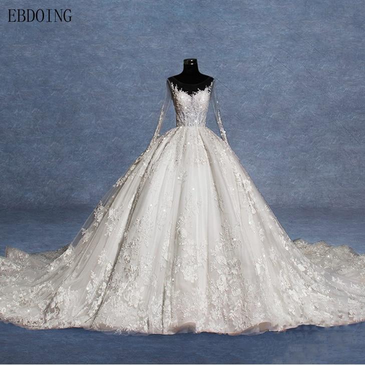 Real Photo Vestidos De Novia Ball Gown Wedding Dress Scoop Neckline Full Sleeve Royal Train Plus