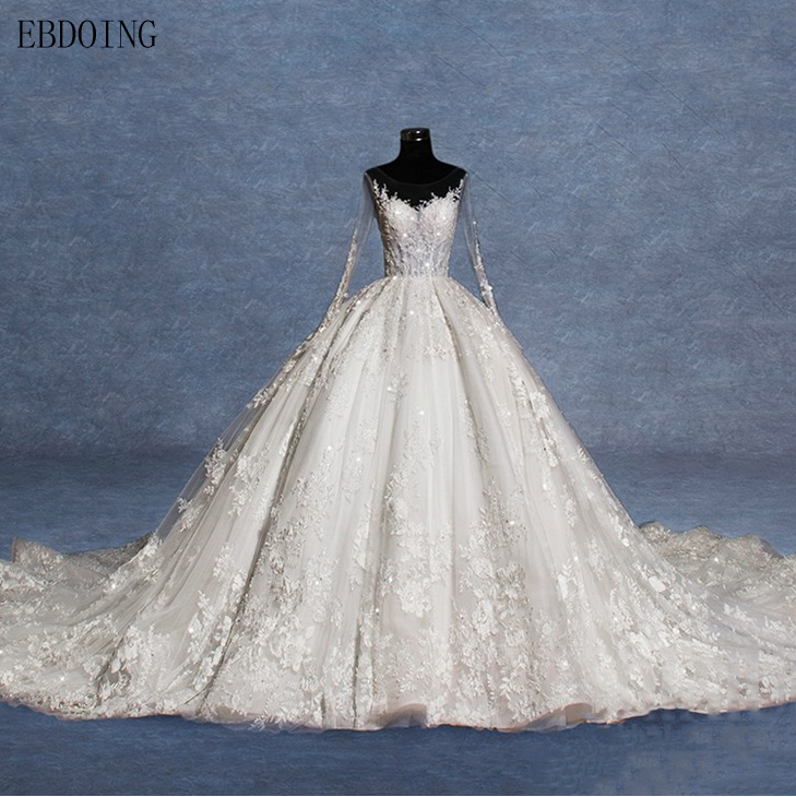 Real Photo Vestidos De Novia Ball Gown Wedding Dress Scoop Neckline Full Sleeve Royal Train Plus Size Lace Bride Gowns
