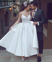 New Short Bridal Gown Wedding Dresses V Neck Satin Ankle Length Simple Spaghetti Straps Wedding Gowns 2018