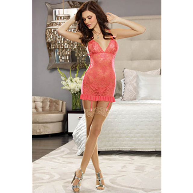 Fashion Apron-style Garters Lace Mini Dress Sexy Girls Chemise Sexy  Lingerie Bridal Lace Belted 86e33fe7389c