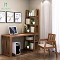 Contracted and contemporary completely real wood desk corner computer desk, one-piece solid wood desk bookshelf