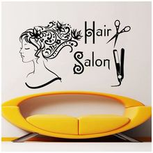 Wall Decals Beauty Salon Sticker Fashion Girl Woman Art Mural Haircut Style Poster Hair Decoration AY0252