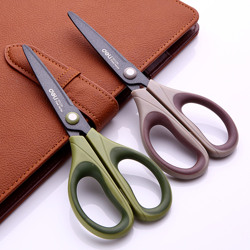 1 Pc Scissors For Adult Home And Garden Teflon Surface Treatment Anti Rust 70x165mm 3 Colors Deli 6055 bp 3 home garden