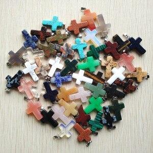 Image 2 - Bán buôn 50 cái/lốc thời trang hot bán tự nhiên đá hỗn hợp màu liệt kê vào chéo mặt dây Quyến Rũ phù hợp với Dây Chuyền đồ trang sức làm