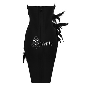 Image 4 - VC 2020 New Trendy Elegant Feather Design Sexy Strapless Backless Sleeveless Celebrity Party Club Bandage Mini Dress