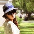 Новое Прибытие Женщин Повседневная Флоппи Пляж Hat Шапки Белый Синий Полосатый Ведро Шляпы Взрослых