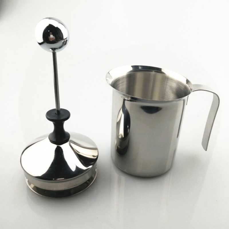 Ręczna mleko praska francuska pompa ręczna ze stali nierdzewnej spieniacz do mleka ręczny dzbanek do mleka