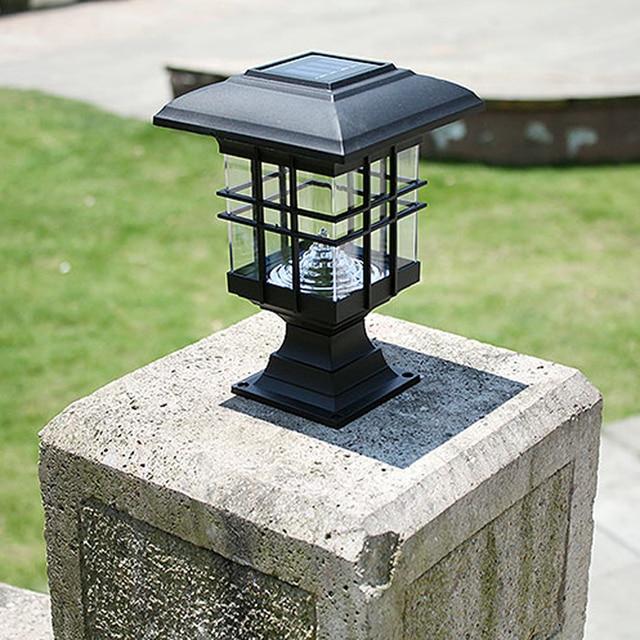 Retro Led Solar Panel Lamp Pillar Wall Lamp Outdoor Solar