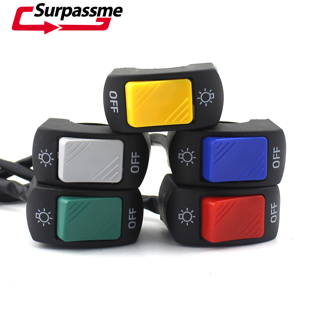 5 PCS Set Motorcycle ABS Plastic Headlight Switch Red Yellow Green Blue Grey for 7 8 quot Handlebar With ON OFF Button Connector in Covers amp Ornamental Mouldings from Automobiles amp Motorcycles