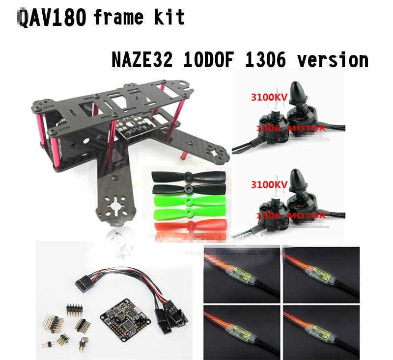 DIY FPV mini drone QAV180 / ZMR180 cross race quadcopter pure carbon frame kit NAZE32 10DOF 1306 3100KV motor BL 6A ESC OPTO new qav r 220 frame quadcopter pure carbon frame 4 2 2mm d2204 2300kv cc3d naze32 rev6 emax bl12a esc for diy fpv mini drone
