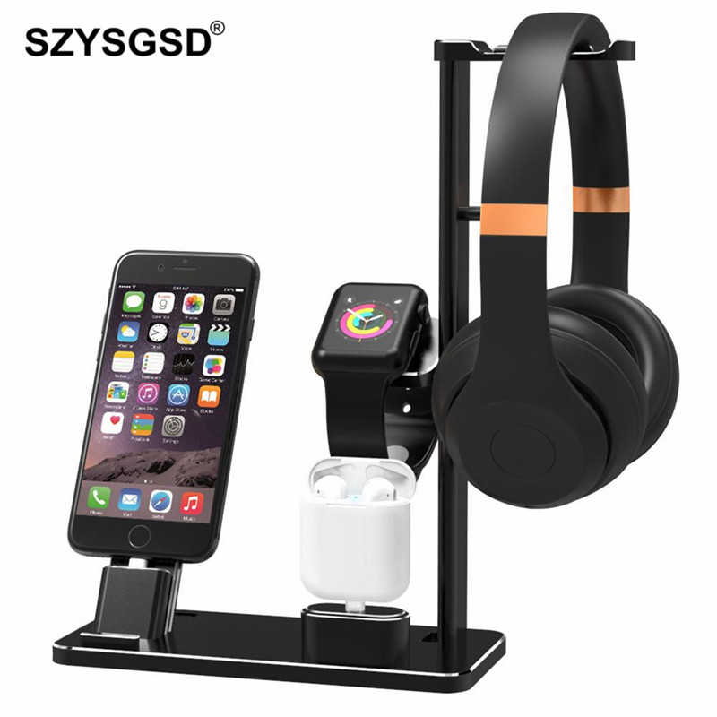 SZYSGSD Multi-functional Charging Stand Holder Headphone Holder Phone Holders for Apple Watch AirPods iPhone iPad Desktop Mounts