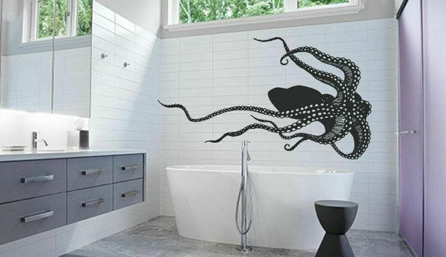 Zee dier gigantische papel pintado de pulpo, tentakeles, muur de vinilo, stijl, badkamer, decoración del hogar, beweegbare, kunst, YS19