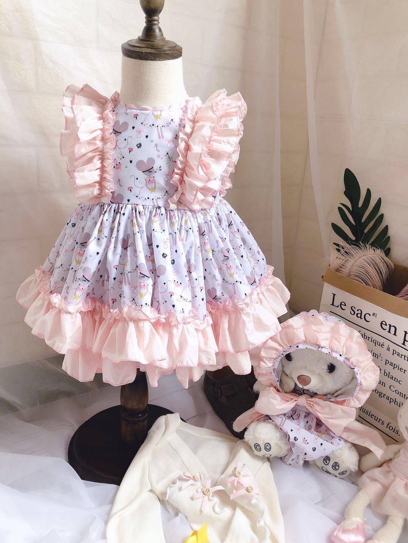 2019 été nouveaux arrivants espagnol personnalisé dessin animé souris qualité robe 3 pièces bébé filles robe d'anniversaire enfants robes pour les filles
