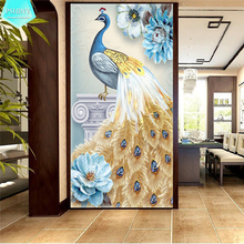 PSHINY 5D DIY Diamond embroidery sale Blue Gem Peacock animal Full drill round rhinestones pictures Diamond Painting new arrival цена 2017