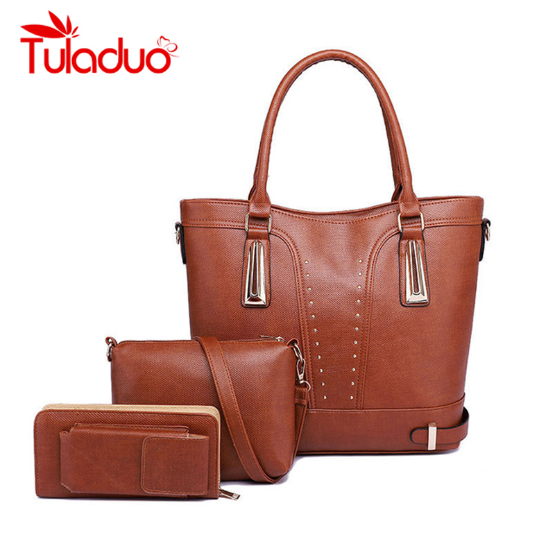 Tuladuo Brand 3Sets Large Capacity PU Leather Women Hand Rivet Bags High Quality Shoulder Bag Women Vintage Female Composite Bag