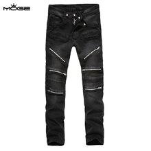 MOGE молнии черные джинсы мужская мода moto джинсы байкер джинсы мужчины жан homme pantalones вакеро hombre pantalones moto