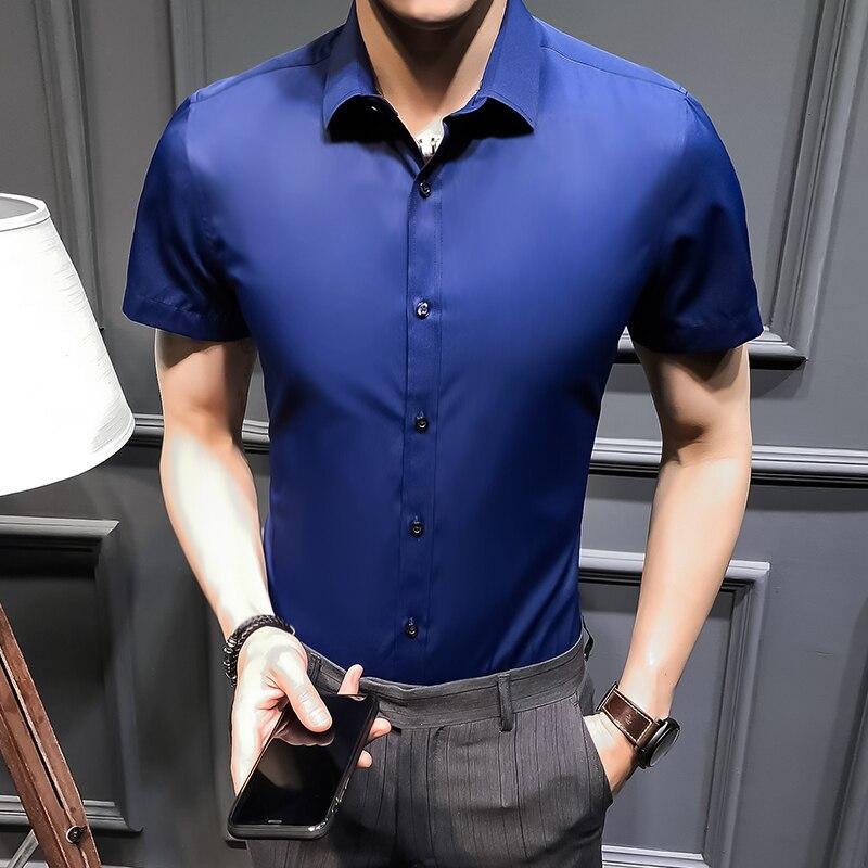 WEEKEND SHOP Mens Business Casual Long Sleeved Shirt Smart Male Social Dress Shirt