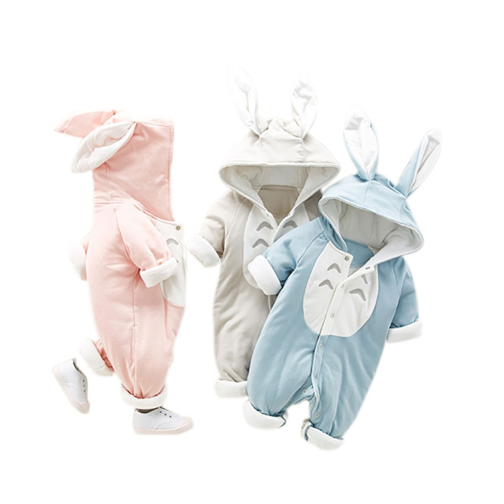 Baby Clothes Cotton Autumn Winter Baby Boy Girls Clothes Cartoon Animal Rabit Ear Romper Jumpsuit Warm Newborn Infant Romper A1