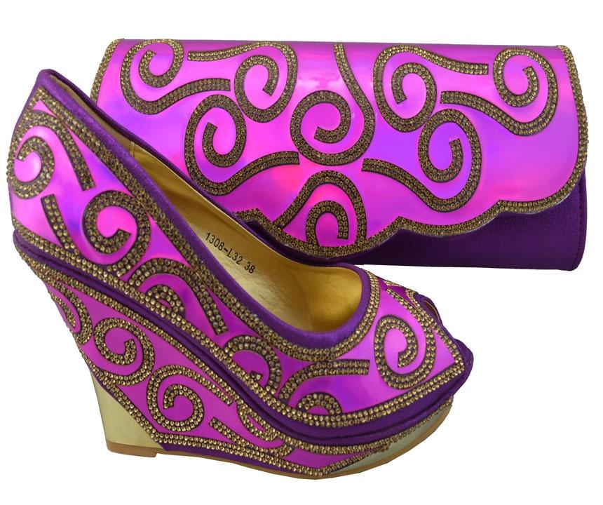 ФОТО 2015 Italian Design Woman Matching Shoe And Bag Set,Italian Shoes And Matching Bags Sets Purple Color !ZX1-65