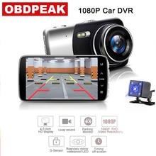 лучшая цена 4.0 Inch Screen Car Camera Dual Lens 170 Wide Angle Vehicle Video Recorder FHD 1080P Night Vision Dash Cam Built-in G Sensor