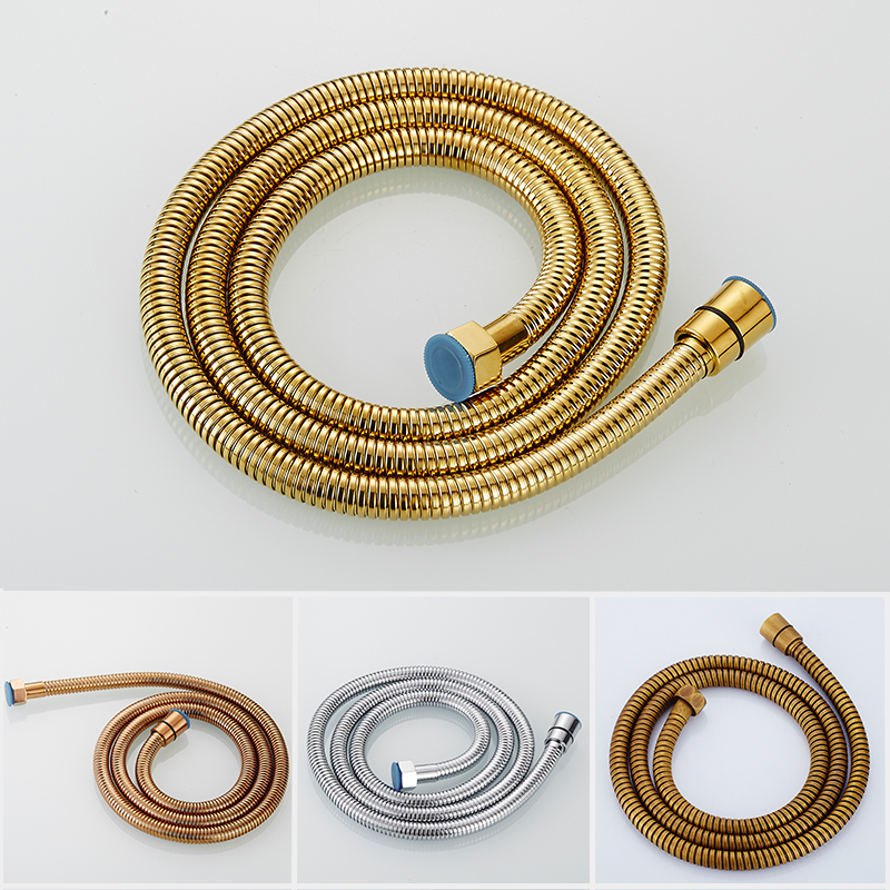 High Quality 304 Stainless Steel Flexible Shower Hose1.5m Plumbing Hoses Antique Gold Bathroom Water Head Showerhead Pipe