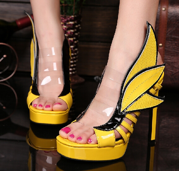 490ae05b2a59 White yellow red angle wing girls sandals size 34 40 platform high heel  sandals high quality leather summer dress shoes-in Women s Sandals from Shoes  on ...