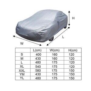 Image 5 - Uniwersalny pełny pokrowiec na samochód śnieg lód kurz słońce UV odcień pokrywa srebrny rozmiar S/M/L/XL/XXL składana lampka odporna ochrona