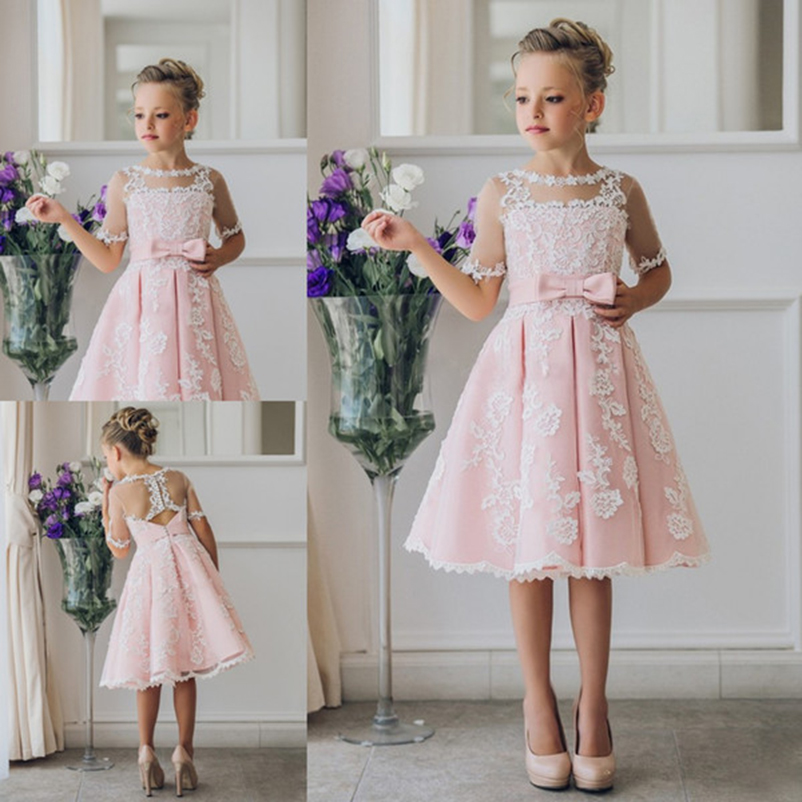 New Pink   Flower     Girl     Dresses   2019 Kids Birthday Party Sheer Half Sleeve Button Back Short   Girls   Pageant   Dresses   with White L ace
