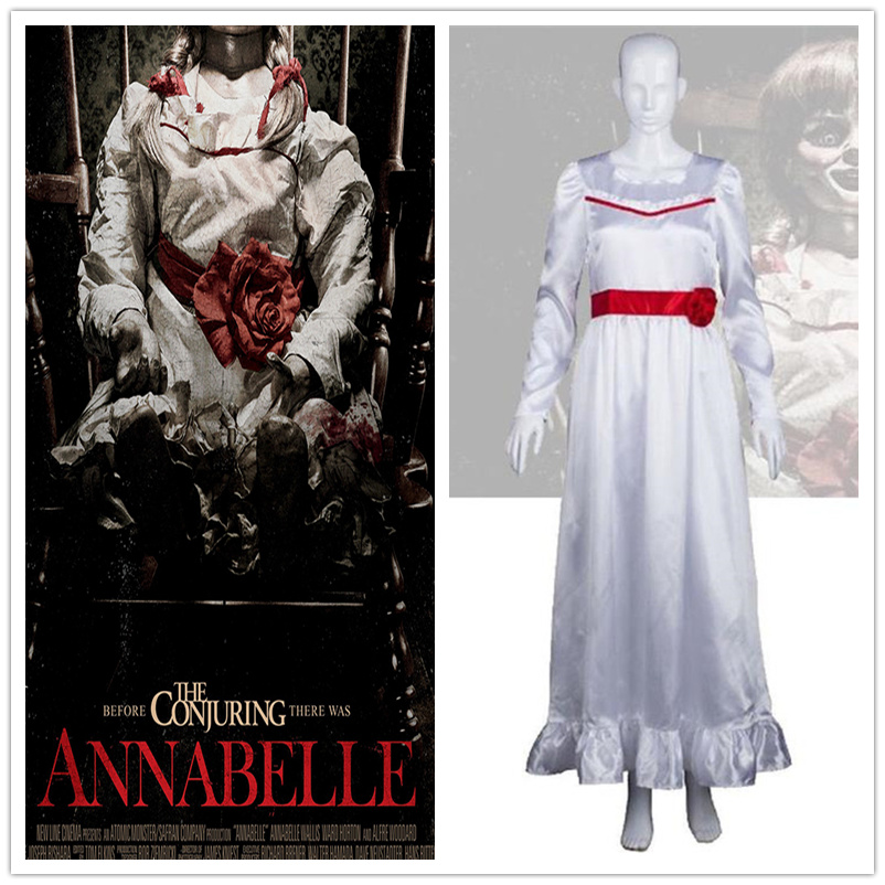 Movie Annabelle Cosplay Costumes White Full Dress Long Sleeve Long Skirt Halloween Party Clothing