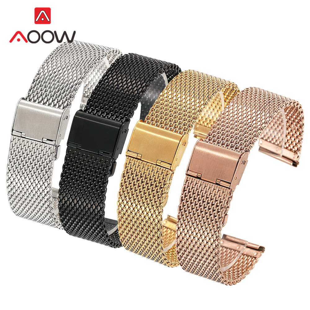 где купить Universal Milanese Watchband 18mm 20mm 22mm 24mm Silver Stainless Steel Mesh Strap Band Replacement Bracelet for Apple Watch по лучшей цене