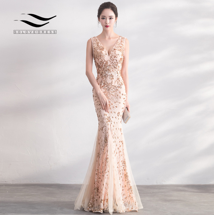 Solovedress Patterned Sequin Mermaid   Evening     Dress   Sleeveless Double V Backless Bodycon Formal Gown Lace Tulle at Bottom E715