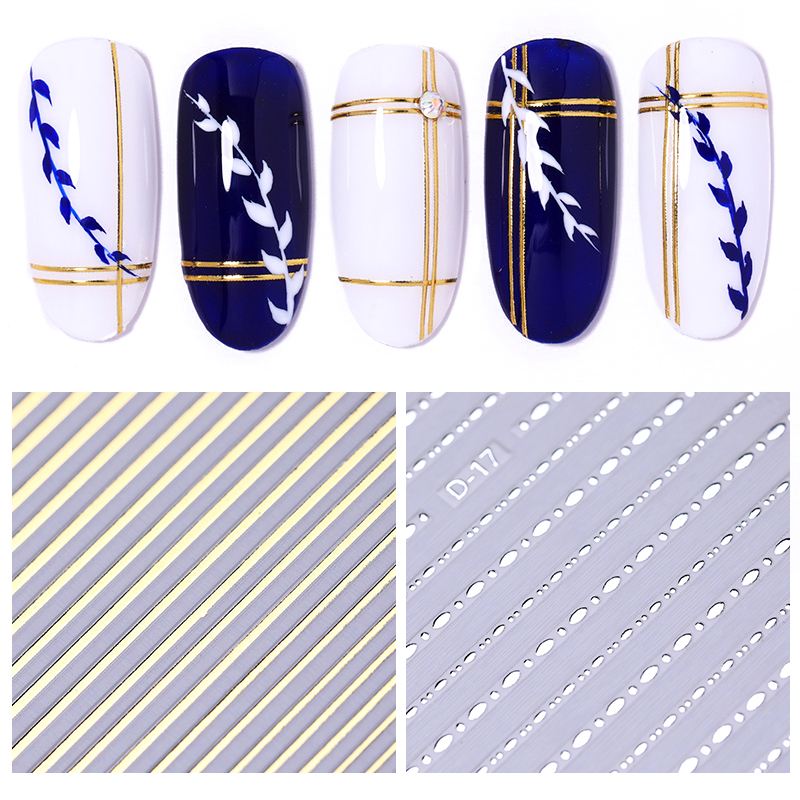 1 Sheet 3D Nail Sticker Gold Sliver Stripe Lines Stickers Adhesive Striping Tape Tips Transfer Nail Art Decorations Manicure