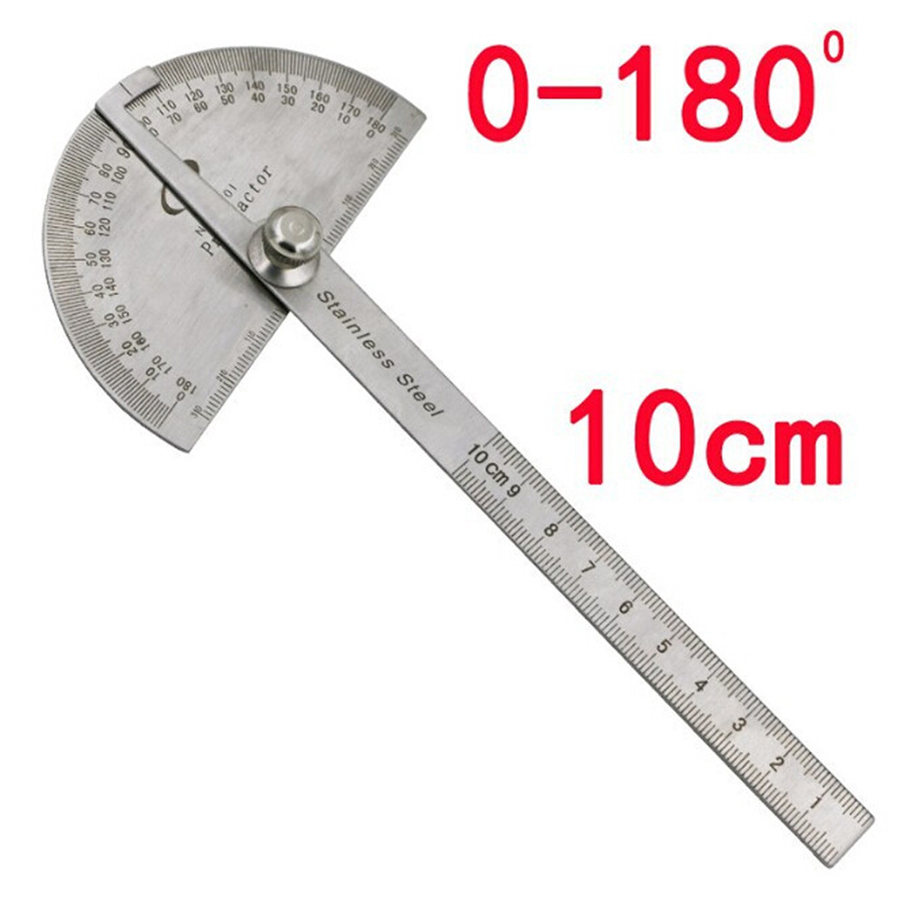 Stainless Steel 180 Degree Angle Woodworking 10cm Measurement Protractor Ruler
