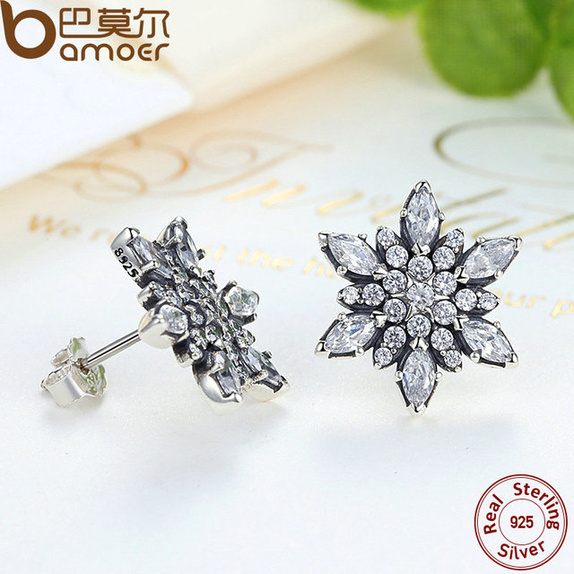 Sterling Silver Crystalized Snowflake Clear Earrings