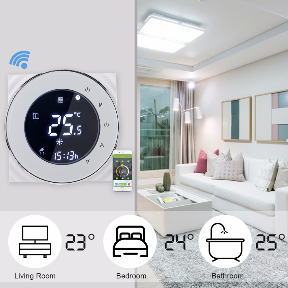Thermostat Alexa WiFi Thermostat Smart Gas Boiler Heating Programmable Temperature Controller 95 240V 3A Winter Black