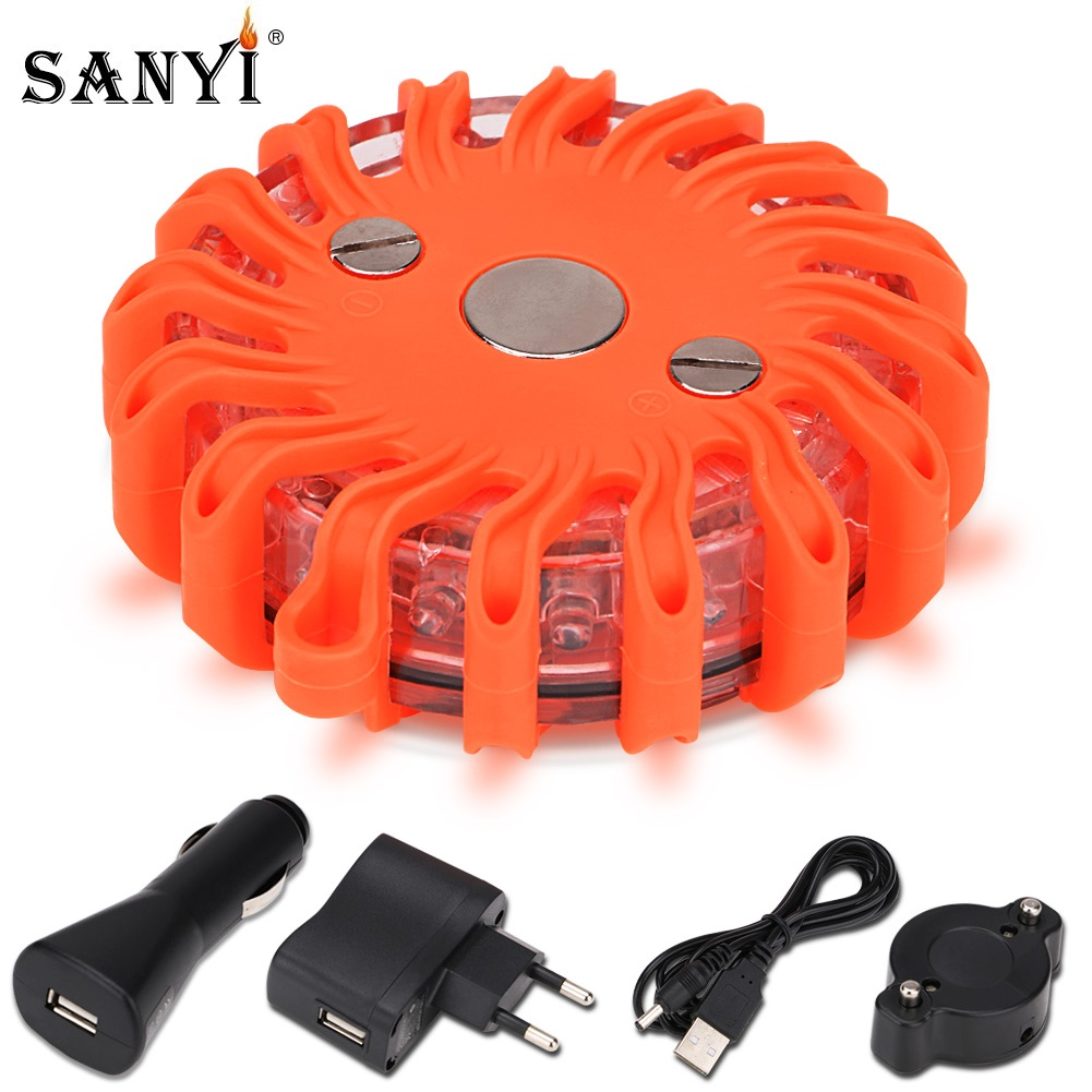 16 LEDs Flashlight Emergency Light Road Flare Flashing Safety Warning Lights Traffic Control Lamp Magnet Base Disc Rescue Beacon-in LED Flashlights from Lights & Lighting