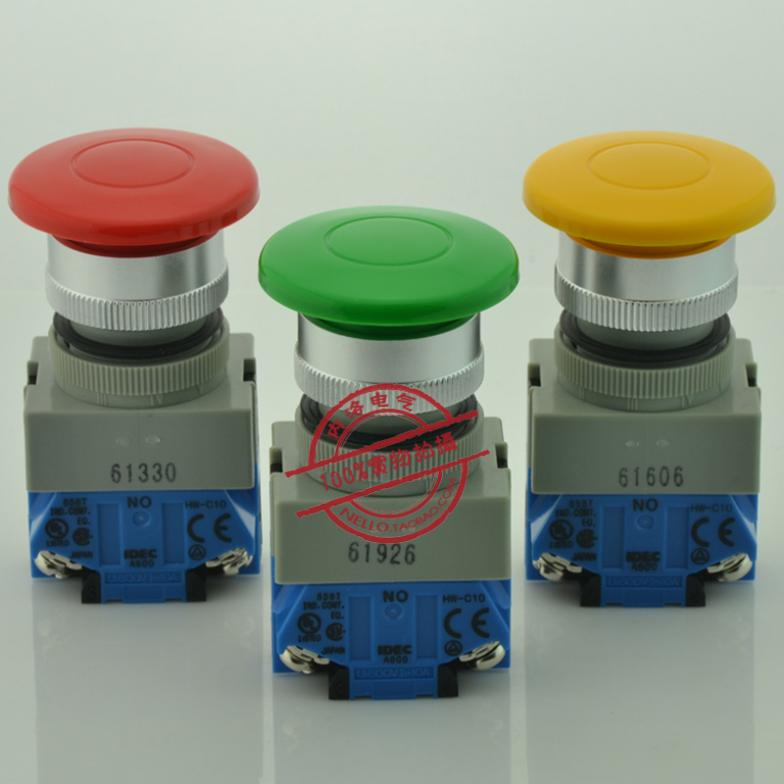 [ SA ]Izumi IDEC 22mm big mushroom head 40 self-reset push button switch 1NO/1NC ABW410 * red yellow and green--10PCS/LOT szgaoy ac250v dc12v red led reset push button switch w terminal silver red